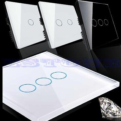 New 1 Way Smart Touch Wall Control Light Switch Crystal Glass Panel 1/2/3 Gang