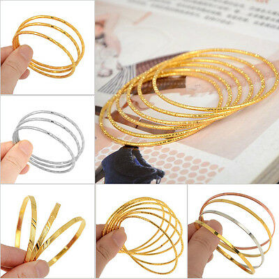 NEW 3/4/6pcs 1 Set Gold Silver Plated Kids Children Bangles Anklets Bracelet