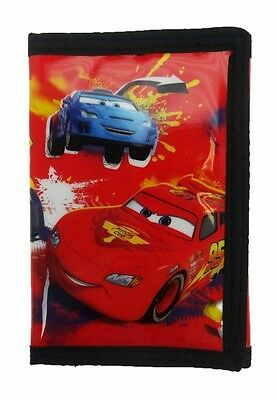 Disney Cars McQueen Childrens Tri-Fold Wallet | Purse with Coin Zip Compartment