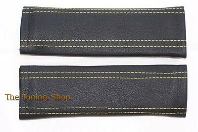 Seat Belt Shoulder Pads Harness Covers Black Genuine Leather Yellow Stitching
