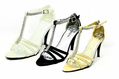 Ladies Satin diamante T bar high heel wedding shoes