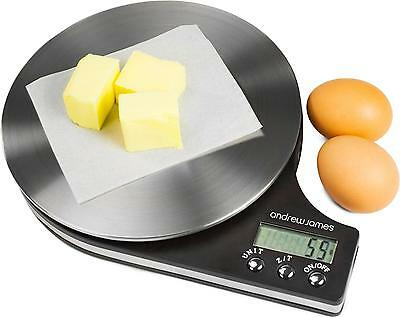 Andrew James Digital Kitchen Scales - Slim Black Electronic Scales