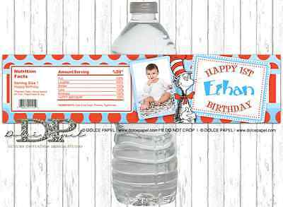 10 Custom Photo Dr. Suess Cat In The Hat Birthday Party WATER BOTTLE LABELS