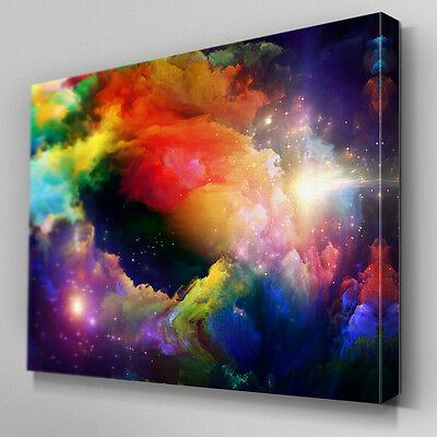 AB357 Rainbow Space Clouds Canvas Wall Art Ready to Hang Picture Print