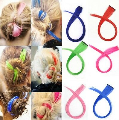 3 Sets Punk Fluorescent Gradient Streaked Dyeing Hair Piece Wig Clip Hairwear