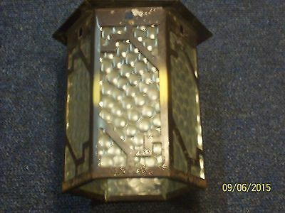 Early-Mid 20Th Century  Metal And Glass Porch Lamp Shade