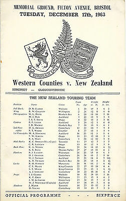1963 - Western Counties v New Zealand, Touring Match Programme.