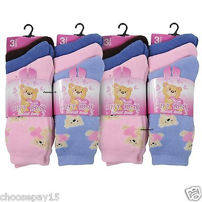 12 Pairs Of Girls Winter Warm Outdoor Thermal Socks Cute Bear Design, All Size