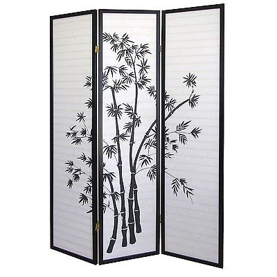 8 6 4 3 Panel Wood Shoji Room Divider Screen Bamboo Print 5999