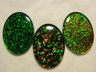Synthetic Loose Triplet Opal Stones mixed colour lot 25x18mm Oval. 3 pcs. #80645