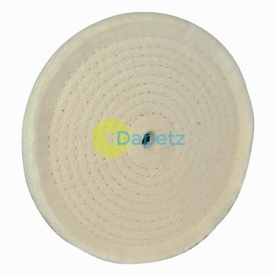 """150mm 6"""" Spiral Stitched Cotton Buffing Polishing Wheel Mop Bench Grinder"""