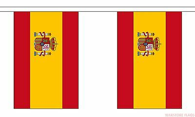 Spain Spanish National Bunting With Crest 3M 10 Flags Rugby Football
