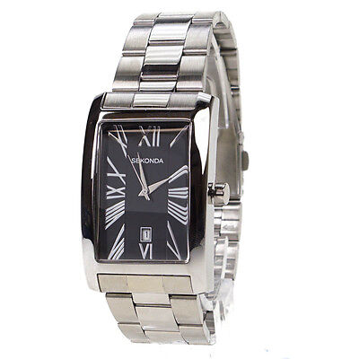 Sekonda Mens Black Dial Rectangular Stainless Steel Gents Watch 3634 - BRAND NEW