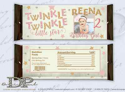 10 Twinkle Twinkle Little Star Pink Gold Birthday Large Hershey Candy Bar Wraps