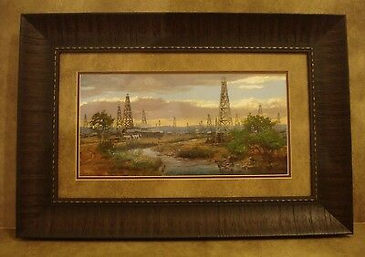 """ANDY THOMAS FRAMED /""""OIL PATCH/"""" OPEN EDITION PRINT **OIL DERRICK**"""