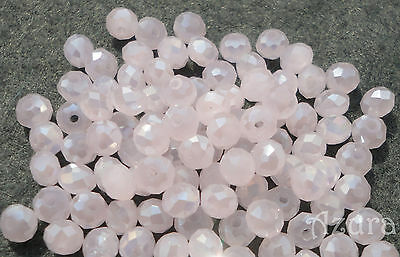 100pcs 3x4mm Round Faceted Crystal Glass Rondelle Beads, Pale Opaque Pink AB