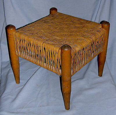 1950's Square Foot Stool with Woven Rush Seat, Signed
