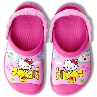 2ecb89a1a NEW Crocs Hello Kitty Plane Creative Clogs Toddler Girls Shoes 6/7 10/11