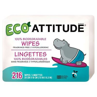 Attitude 100% Biodegradable Baby Wipes (72 per pack x 3)