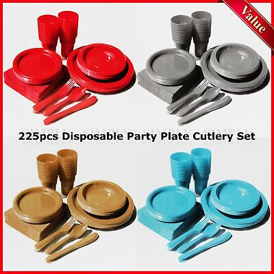 Plastic Party Plates Supplies Cutlery Disposable Set - Cups Plate Table Cover