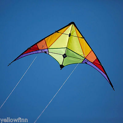 New 1.2M Wingspan Easy To Fly 2 Line Stunt Kite Rainbow Outdoor Kids Adults Kite