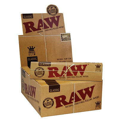 50 Full BOX  RAW Classic King Size Slim 110mm Rolling Papers - Cigarette Papers
