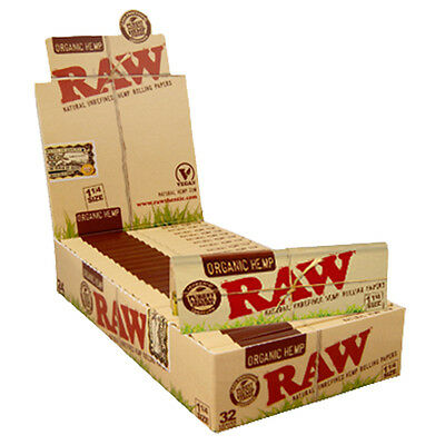 RAW Organic Hemp 1 1/4 Rolling Paper Cigarette Paper 24 Full Box