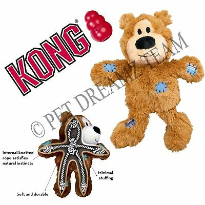 Kong Knots Tan Bear – Plush Squeaky Dog Puppy Toy - Knotted Rope For Strength
