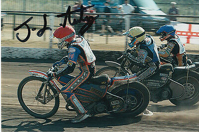 Josh Auty Hand Signed Scunthorpe Scorpions Speedway 6X4 Photo.