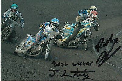 Josh Auty And Richie Dennis Hand Signed Scunthorpe Scorpions Speedway 6X4 Photo.