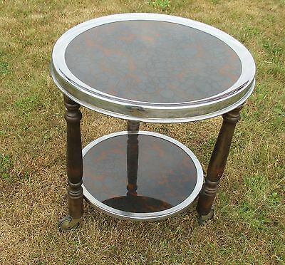 Vintage Bar Cart Mid Century Smokers Cocktail cart trolley round black brown