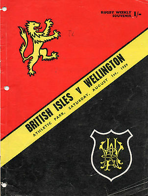 1959 - British Isles v Wellington, Rugby Programme.