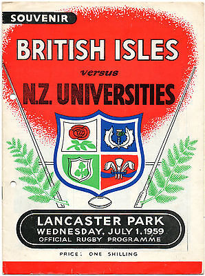 1959 - British Isles v New Zealand Universities, Rugby Union Programme.