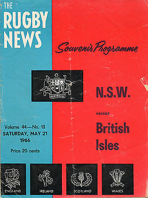 1966 - New South Wales v British Isles, Rugby Union Programme.