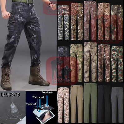 Men's Military Casual Outdoor Soft Shell Waterproof Camo Pants Hunt Trousers