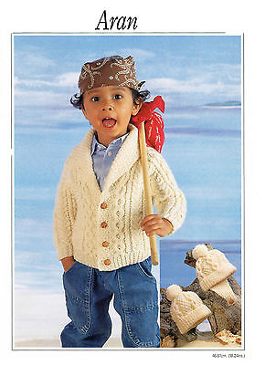 baby childrens boys jacket and hats aran  knitting pattern 99p 17