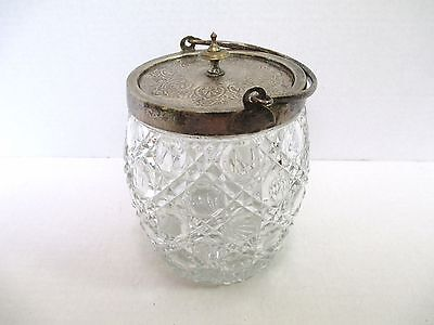 Antique Glass Biscuit Jar with Sterling Silver? Lid & Handle Unsigned Nice