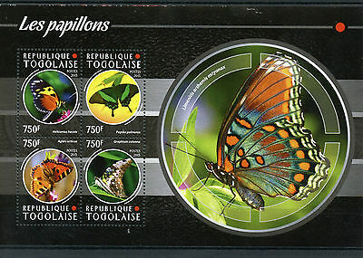 Togo 2015 MNH Butterflies 4v M/S Insects Butterfly Fauna Papillons