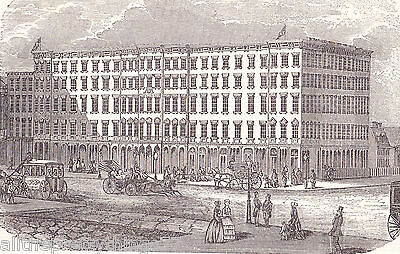 METROPOLITAN Hotel in NEW YORK Horse & Carriage Antique 1852 MATTED Picture