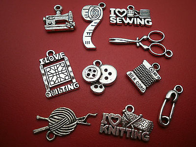 Silver Alloy Sewing - Knitting- Quilting  Charms   For Jewellery Making Crafts