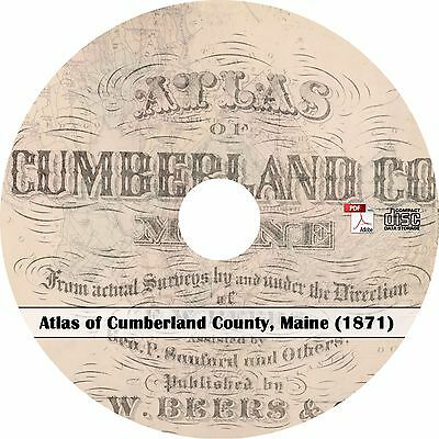1871 Atlas of Cumberland County, Maine  - Plat Maps History Genealogy Book on CD