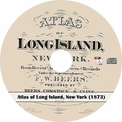 1873 Atlas of Long Island, New York -  Plat Maps Book on CD
