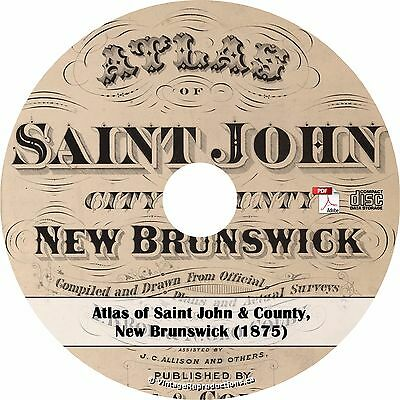 1875 Atlas of Saint John City & County, New Brunswick - Plat Maps Book on CD