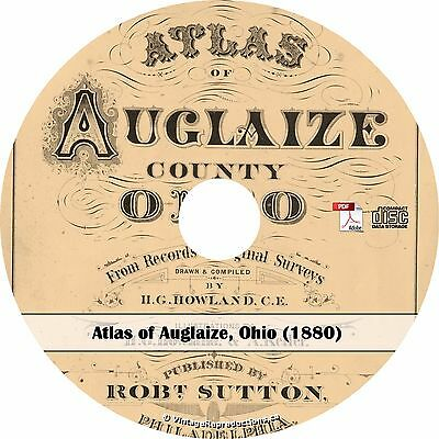 1880 Atlas of Auglaize County, Ohio - Plat Maps History Genealogy Book on CD