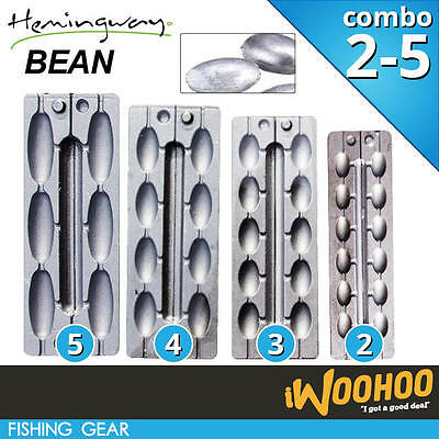 COMBO Size 2 3 4 5 Fishing Bean Sinker Mould - Hemingway & ForceTen Moulds
