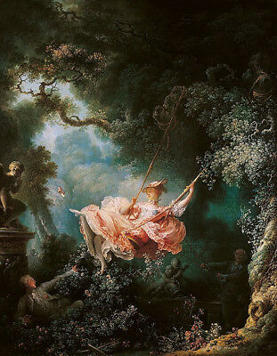 "The Swing by Jean-Honore Fragonard, Handmade Oil Painting Reproduction 26"" x 34"""