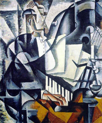 The Pianist by Lyubov Popova, Handmade Modern Abstract Oil Painting Reproduction