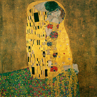 "The Kiss by Gustav Klimt, Handmade Oil Painting Reproduction on Canvas 30"" x 30"""