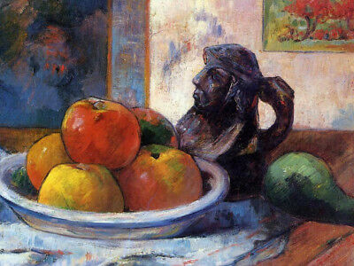 Still Life With Apples, Pear & Ceramic Portrait Jug by Paul Gauguin Painting