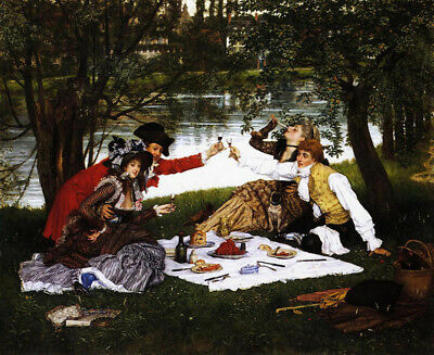 Partie Carree by James Jacques Joseph Tissot, Handmade Oil Painting Reproduction